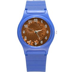 Brown Abstract Flowers Plastic Sport Watch (Small)