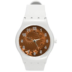 Brown Abstract Flowers Plastic Sport Watch (Medium)