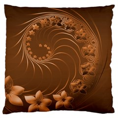 Brown Abstract Flowers Large Cushion Case (one Side)