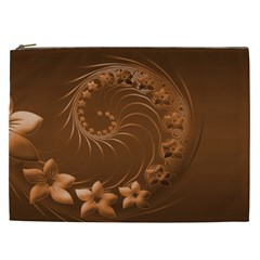 Brown Abstract Flowers Cosmetic Bag (XXL)