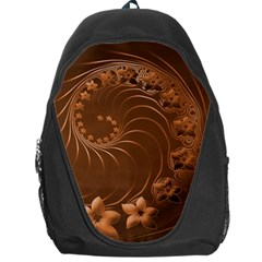 Brown Abstract Flowers Backpack Bag