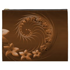 Brown Abstract Flowers Cosmetic Bag (XXXL)