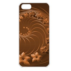 Brown Abstract Flowers Apple iPhone 5 Seamless Case (White)