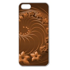 Brown Abstract Flowers Apple Seamless iPhone 5 Case (Clear)