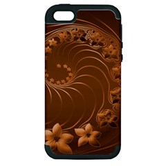 Brown Abstract Flowers Apple iPhone 5 Hardshell Case (PC+Silicone)