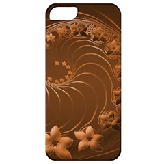 Brown Abstract Flowers Apple iPhone 5 Classic Hardshell Case