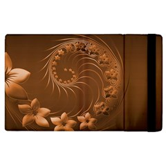 Brown Abstract Flowers Apple Ipad 2 Flip Case