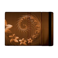 Brown Abstract Flowers Apple Ipad Mini Flip Case