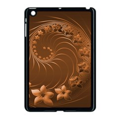 Brown Abstract Flowers Apple iPad Mini Case (Black)
