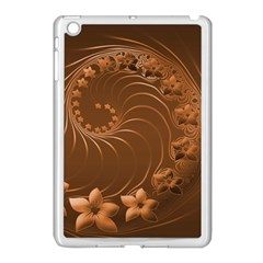 Brown Abstract Flowers Apple Ipad Mini Case (white)