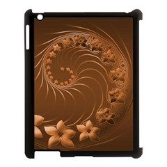 Brown Abstract Flowers Apple Ipad 3/4 Case (black)