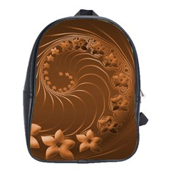 Brown Abstract Flowers School Bag (XL)