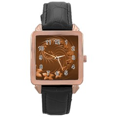 Brown Abstract Flowers Rose Gold Leather Watch