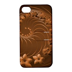 Brown Abstract Flowers Apple iPhone 4/4S Hardshell Case with Stand