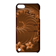 Brown Abstract Flowers Apple iPod Touch 5 Hardshell Case with Stand