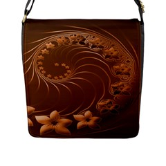Brown Abstract Flowers Flap Closure Messenger Bag (large)