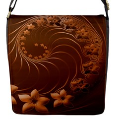 Brown Abstract Flowers Flap closure messenger bag (Small)