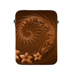 Brown Abstract Flowers Apple Ipad 2/3/4 Protective Soft Case