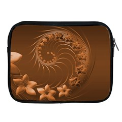 Brown Abstract Flowers Apple Ipad 2/3/4 Zipper Case