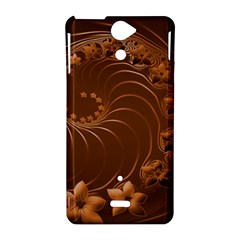 Brown Abstract Flowers Sony Xperia V Hardshell Case