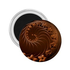 Dark Brown Abstract Flowers 2.25  Button Magnet