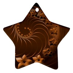 Dark Brown Abstract Flowers Star Ornament