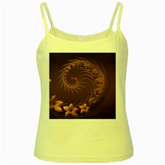 Dark Brown Abstract Flowers Yellow Spaghetti Tank
