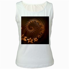 Dark Brown Abstract Flowers Womens  Tank Top (White)