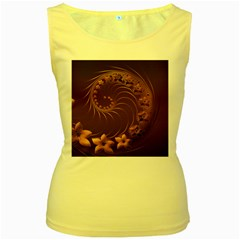 Dark Brown Abstract Flowers Womens  Tank Top (yellow)