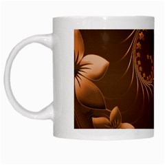 Dark Brown Abstract Flowers White Coffee Mug