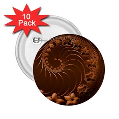 Dark Brown Abstract Flowers 2.25  Button (10 pack)