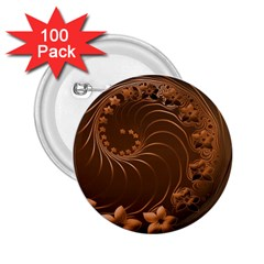 Dark Brown Abstract Flowers 2 25  Button (100 Pack)