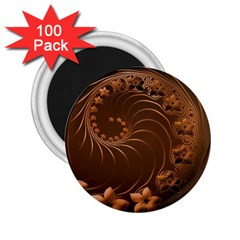 Dark Brown Abstract Flowers 2.25  Button Magnet (100 pack)