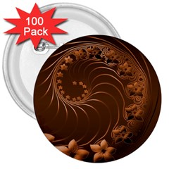 Dark Brown Abstract Flowers 3  Button (100 Pack)