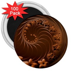 Dark Brown Abstract Flowers 3  Button Magnet (100 pack)