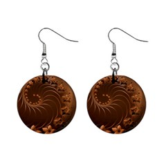 Dark Brown Abstract Flowers Mini Button Earrings