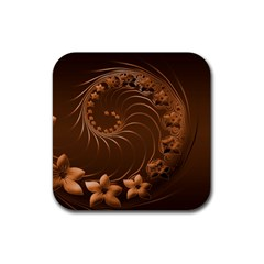 Dark Brown Abstract Flowers Drink Coasters 4 Pack (Square)