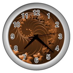 Dark Brown Abstract Flowers Wall Clock (Silver)
