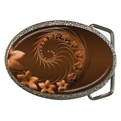 Dark Brown Abstract Flowers Belt Buckle (oval)