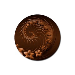 Dark Brown Abstract Flowers Drink Coaster (round)
