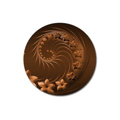 Dark Brown Abstract Flowers Magnet 3  (round)