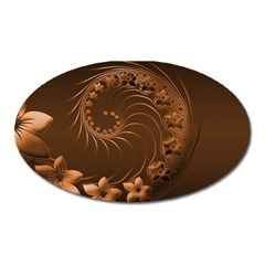 Dark Brown Abstract Flowers Magnet (oval)