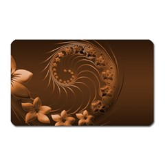 Dark Brown Abstract Flowers Magnet (Rectangular)