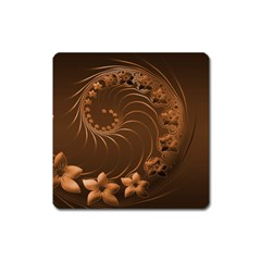 Dark Brown Abstract Flowers Magnet (Square)