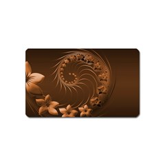 Dark Brown Abstract Flowers Magnet (Name Card)
