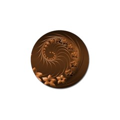 Dark Brown Abstract Flowers Golf Ball Marker