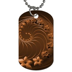 Dark Brown Abstract Flowers Dog Tag (two Sided)