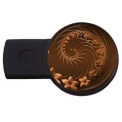 Dark Brown Abstract Flowers 1GB USB Flash Drive (Round)