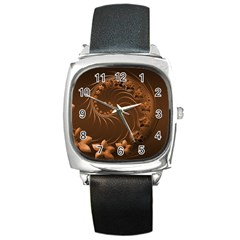 Dark Brown Abstract Flowers Square Leather Watch