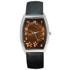 Dark Brown Abstract Flowers Tonneau Leather Watch